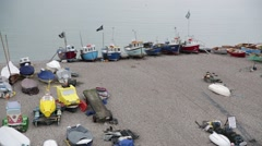 Fishers boats in England, South Coast, Europe Stock Footage