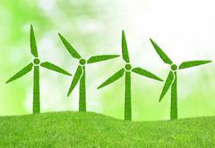 Green wind turbines symbol - stock illustration