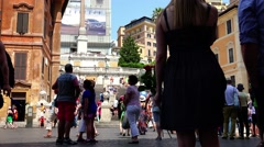 ULTRA HD 4K real time shot, Spanish square in Rome, Italy Stock Footage