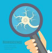 Neuroscience flat illustration. Nervous system research concept - stock illustration