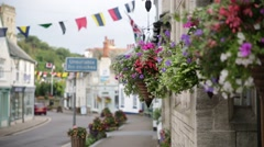 English cottages with flowers Stock Footage