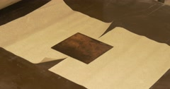 Process of Installation of a Pure Paper on a Copper Plate. Stock Footage