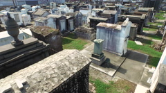 Stock Video Footage of Cemetary in New Orleans, LA, above ground tombs stone crypts mausoleums, Aerial