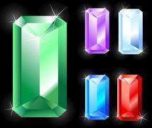 rectangular jewels - stock illustration