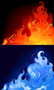 red and blue flames - stock illustration