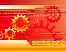 red background with gears - stock illustration