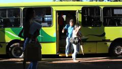 Bus, Tourists, Park Foz do Iguazu, Brazil. Parque Cataratas do Iguaçu. Tourism Stock Footage