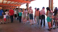 The line for tickets - Foz do Iguaçu Park. Cataratas, Waterfall, Brazil. Stock Footage