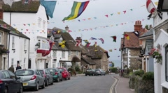 Traditional English Village with Regatta Flags, England, Europe - stock footage