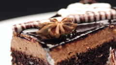 Cake containing top noire dough, chocolate and vanilla cream - stock footage