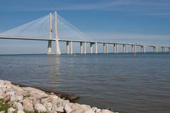 View of the Vasco da Gama bridge - Lisbon - stock photo