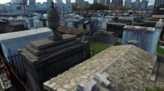 Cemetary in New Orleans, LA, above ground tombs stone crypts mausoleums, Aerial Stock Footage
