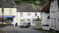 English Medieval Fishermans cottages, Beer, England Stock Footage
