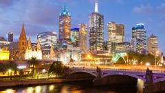 Hyperlapse video of downtown Melbourne, Australia Stock Footage