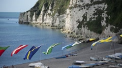 Medieval fishers village regatta and cliffs, Beer, England, Europe Stock Footage