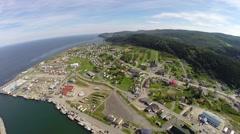 Aerial panorama of Riviere au Renard -Haute Gaspesie Stock Footage