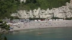English beach huts Stock Footage