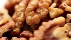 Rotating walnut kernels - stock footage