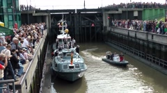 Sail 2015 Bremerhaven 019HD boat of President Gauck in a lock basin Stock Footage