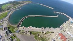 Aerial view og marina in Riviere au Renard, Haute Gaspesie Stock Footage