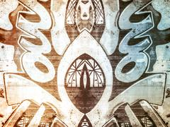 Stock Illustration of Grunge, geometric shapes painted on an old concrete wall