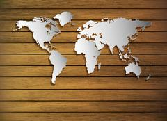 Dimensional World Map On A Wood Texture Stock Illustration