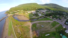 Aerial view of marina snd mountains in Marsoui, Haute Gaspesie Stock Footage