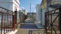 Cemetary, moving through at eye level, in New Orleans, LA, Aerial Stock Footage