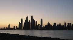 HD Timelapse Of A Dubai Marina Bay. Morning view from Jumeirah Palm. Stock Footage