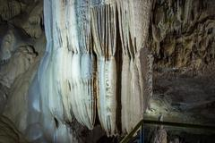 Photo of colour waterfall from stalactites - stock photo