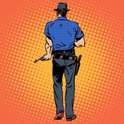 man gun gangster Sheriff cowboy crime - stock illustration