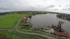 Zaandam Zaanse Schans aerial bird eye helicopter view of the windmills 4k Stock Footage