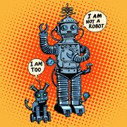I am not a robot said dog future science fiction Stock Illustration