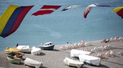 Fishing boats and regatta flags Stock Footage