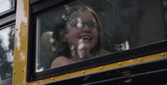 Stock Video Footage of Nerdy girl with amazed smile in bus - school field trip awesome