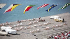 Regata flags and English deck chairs Stock Footage