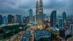 KLCC Cloudy Sunset And Night Traffic Lightrails, Timelapse Stock Footage