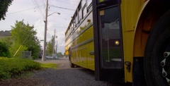 High School Student Getting on Bus - stock footage
