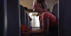 Girls basketball on school bus - stock footage