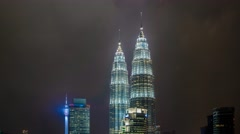 Fast Moving Clouds Over Petronas Twin Tower, Timelapse Stock Footage