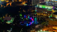 Colorful KLCC Fountain, Timelapse Zoom In Stock Footage