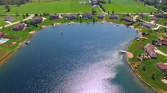 Affluent Rural Suburb on Man-made Make, Aerial View Stock Footage