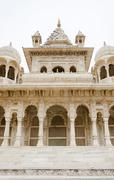 Jaswant Thada. Ornately carved white marble tomb of Jodhpur Stock Photos