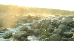 Dawn over Rushing river Stock Footage