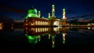 Stock Video Footage of Likas Mosque (Masjid Bandaraya Likas). Beautiful Sunrise And Reflection