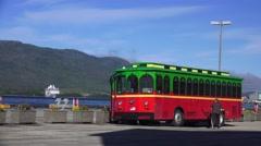 Cruise ship arriving , Ketchikan, Alaska tour bus Stock Footage