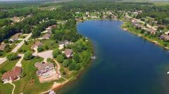 Rural Affluent Suburb on Beautiful Man-made Lake, Aerial View Stock Footage
