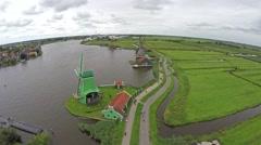 Zaandam Zaanse Schans aerial bird eye helicopter view 4k Stock Footage
