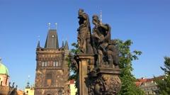 Statuary of St. Barbara, Margaret and Elizabeth at the Charles Bridge. Prague - stock footage