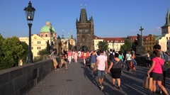 Crowd tourists at the Charles Bridge. Prague Stock Footage